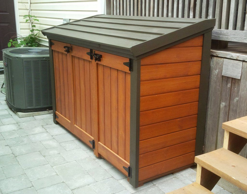 free plan trash can shed plans home sweet home in 2019 outdoor trash cans trash can storage. Black Bedroom Furniture Sets. Home Design Ideas