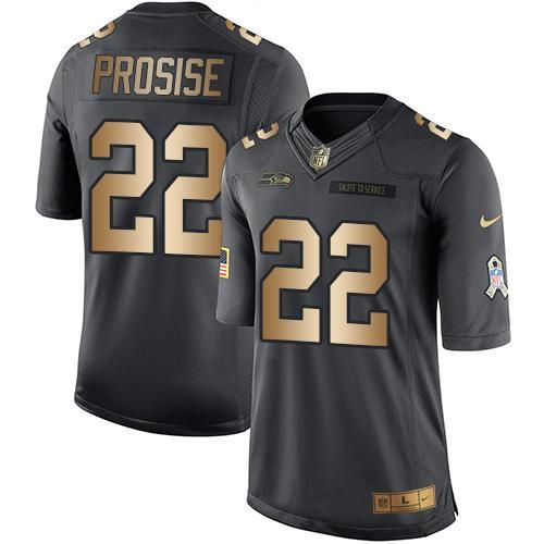 Men's Seattle Seahawks #22 C. J. Prosise Black Anthracite 2016 Salute To Service Stitched NFL Nike Limited Jersey