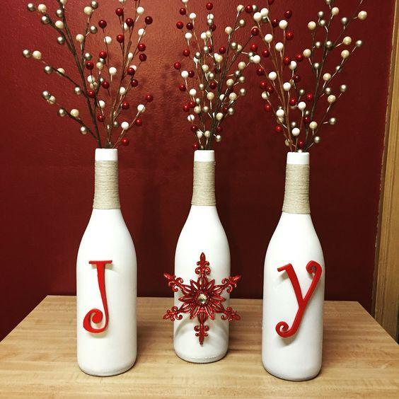 Joy Christmas Wine Bottles Easy Craft Christmas Decorations Wine Bottle Crafts Christmas Christmas Centerpieces Diy Christmas Wine Bottles