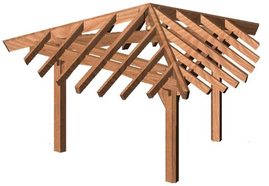 3 Sided Pergola With Pitched Roof   One Long Side For Hammock And Opposite  Peak For