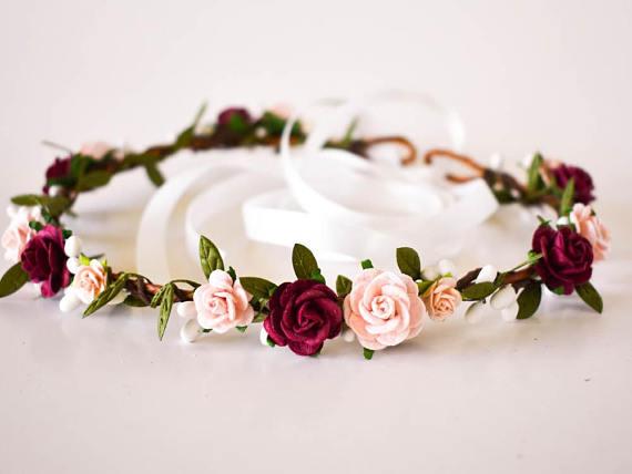 Burgundy mustard wedding flower crown Floral headpiece for bride Floral crown burgundy Deep red marsala flower crown Floral head wreath