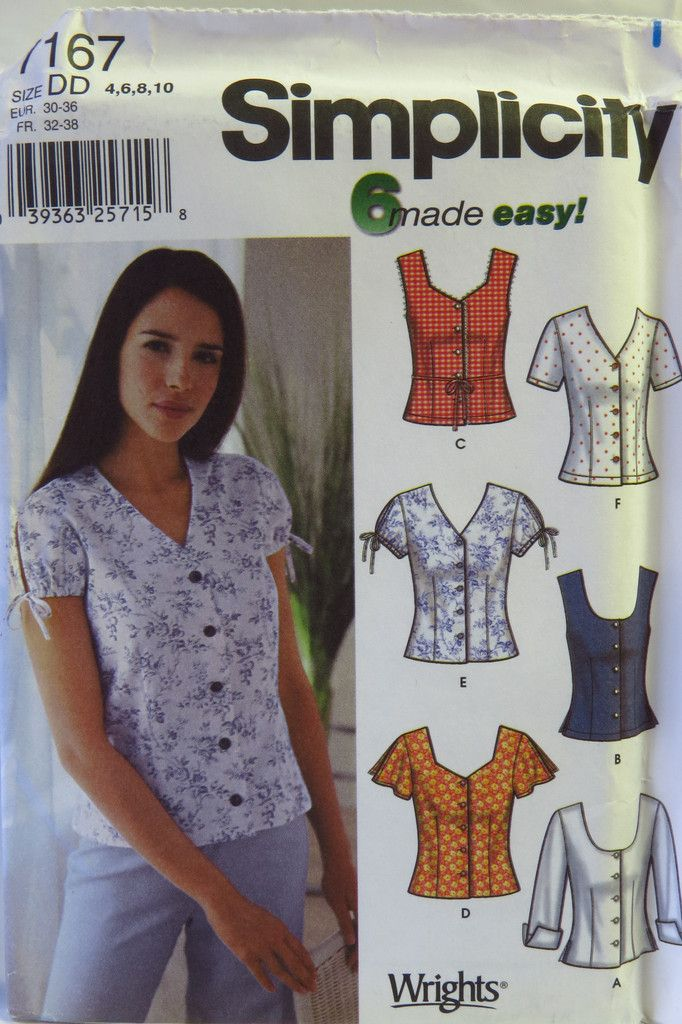 Simplicity 7167 Misses' Blouse with Neck and Sleeve Variations