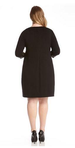 Plus Size Black 34 Sleeve Gold Studded Work Dress Karenkane