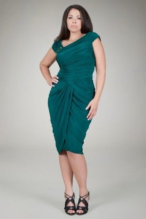 Draped Jersey Cocktail Dress in Pine - Plus Size Evening Shop | Tadashi Shoji
