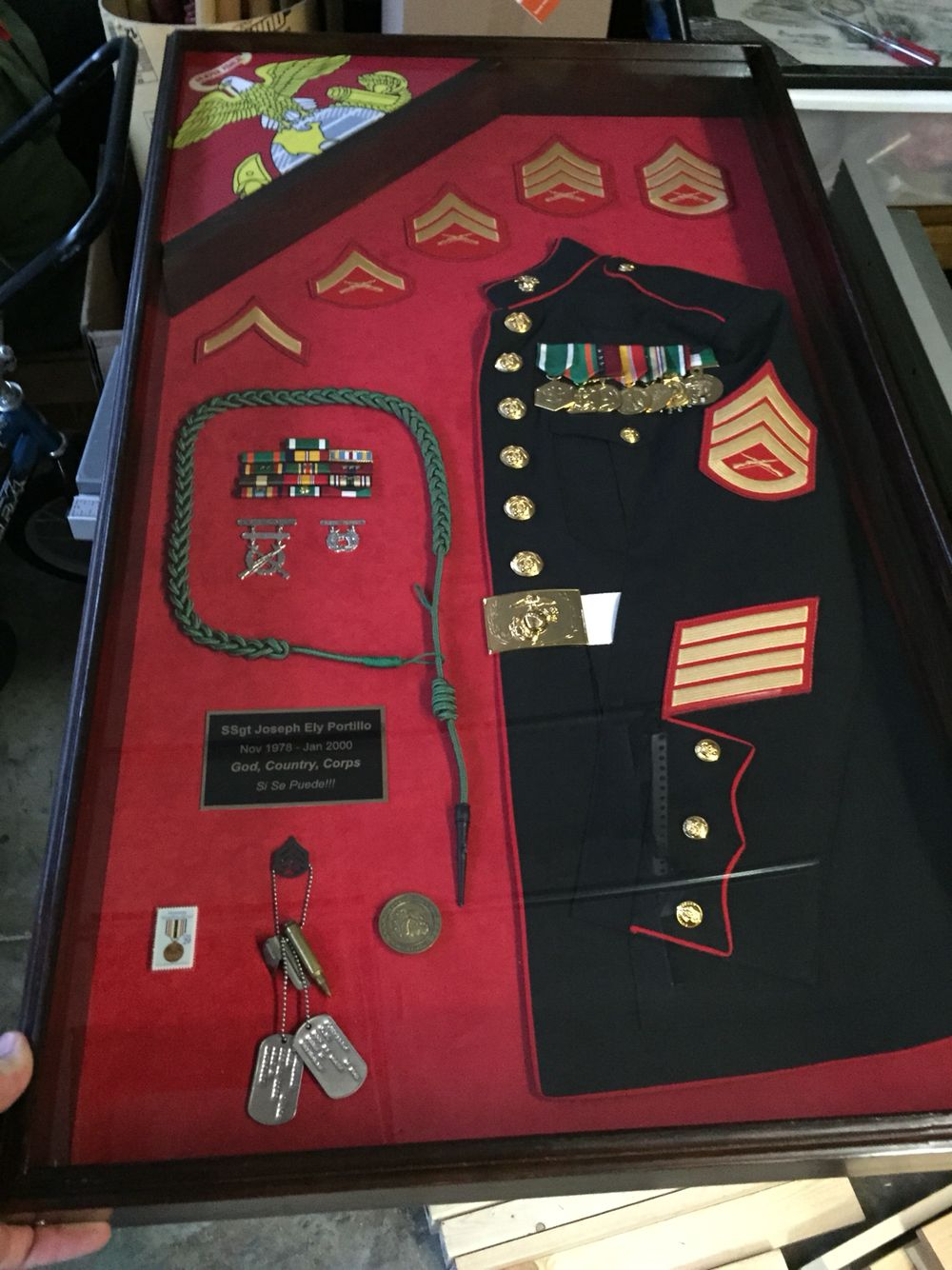 Usmc Military Shadow Box Plaque For A Retired Staff