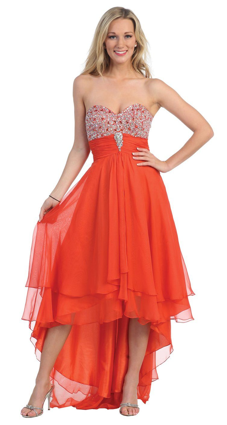 Tea Length Orange Dress