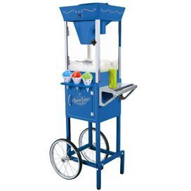 """Snow cone cart with storage for cones and flavorings.      Product: Snow cone cart    Construction Material: Metal and glass    Color: Blue    Features:  Storage area for cones and syrups    Unique old fashioned look    Perfect for poolside parties, fun filled game rooms and more  Dimensions: 53"""" H x 16.5"""" W x 21"""" D Note: Cones and syrups are not included"""