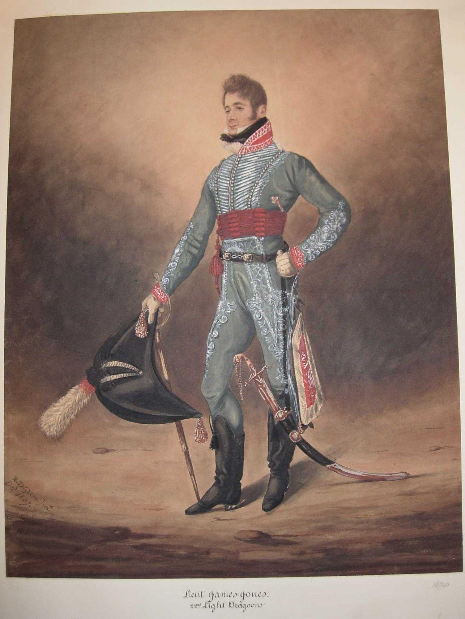 British; 22nd Light Dragoons, Lieutenant James Jones, 1807  by Robert Dighton