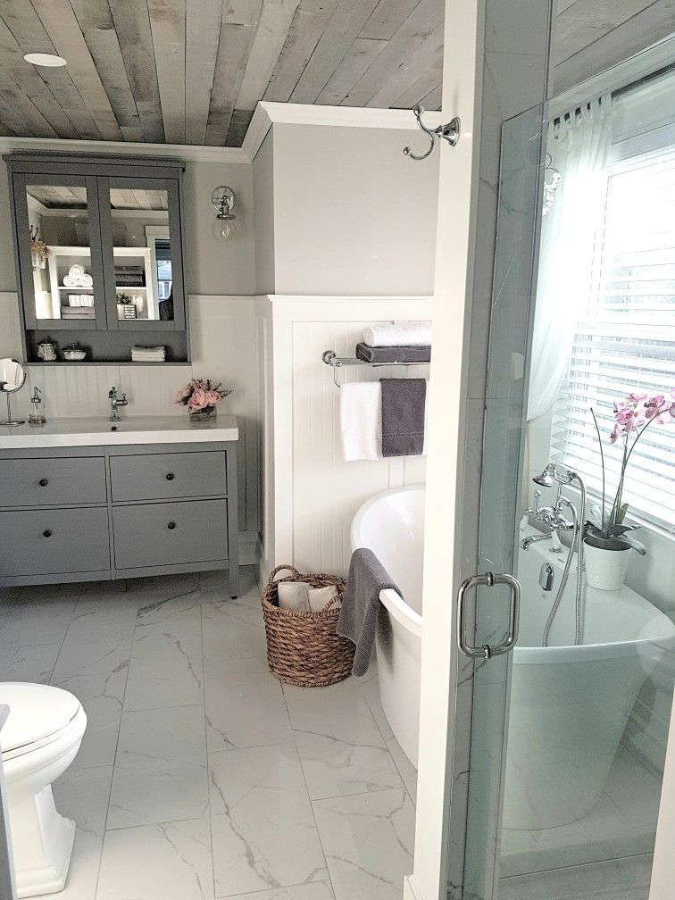 ikea hemnes vanity and cabinet with barnboard ceiling. Black Bedroom Furniture Sets. Home Design Ideas