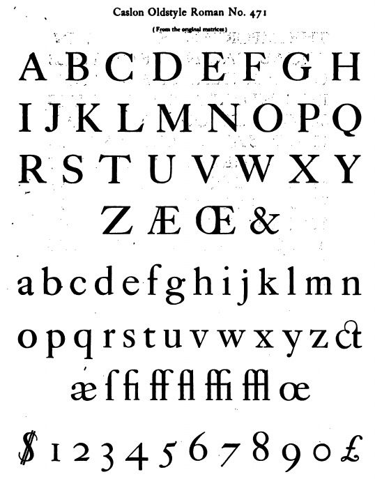 Caslon Oldstyle Roman No Font Names Old Fashioned Fonts