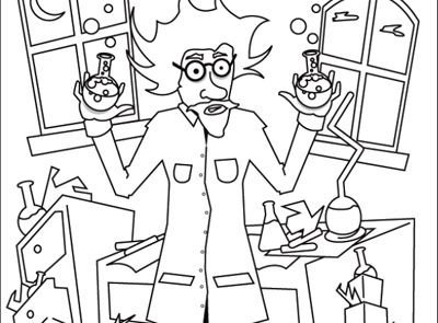 Halloween Coloring Page Mad Scientist Bubble bubble toil and
