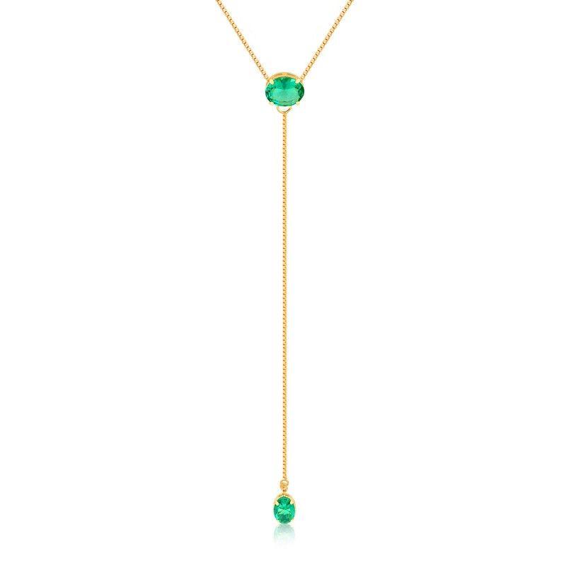 Colar longo com zircônia verde folheado em ouro 18k - CL134BF07 ... 1093f25cb9