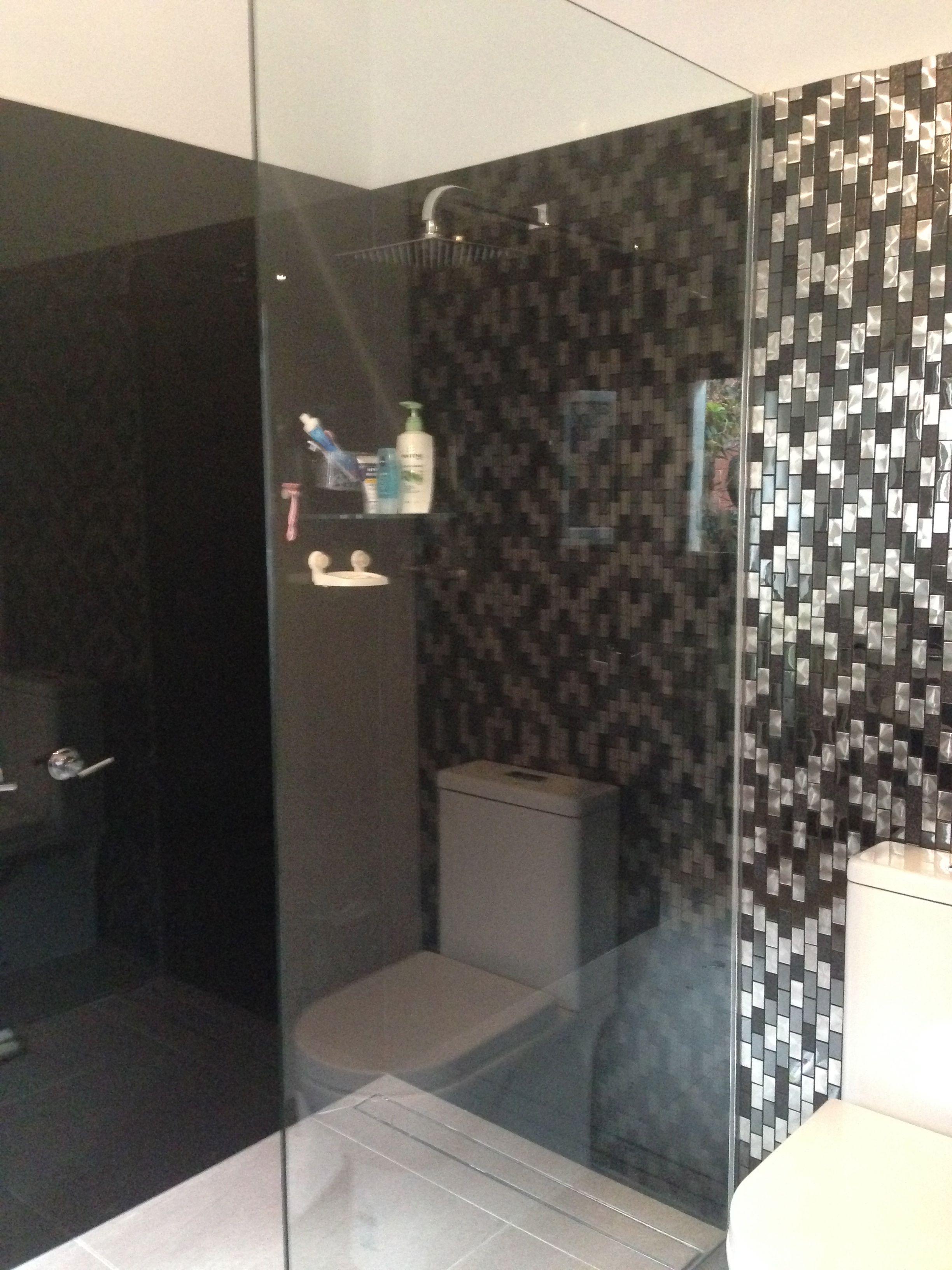 Glass Splashbacks Bathroom Walls Black Coloured Glass Splashbacks In Shower Bathroom Glass