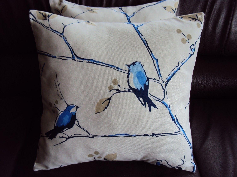 Decorative pillows blue birds design cushion shams UK designer fabric covers two 18 x 18  inch handmade. $40.00, via Etsy.