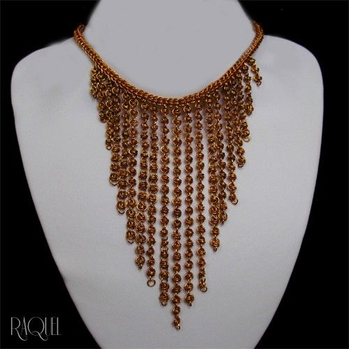 Golden Falls 24k Gold plated Cascading  Chainmail Bib Necklace | Cheli - Jewelry on ArtFire