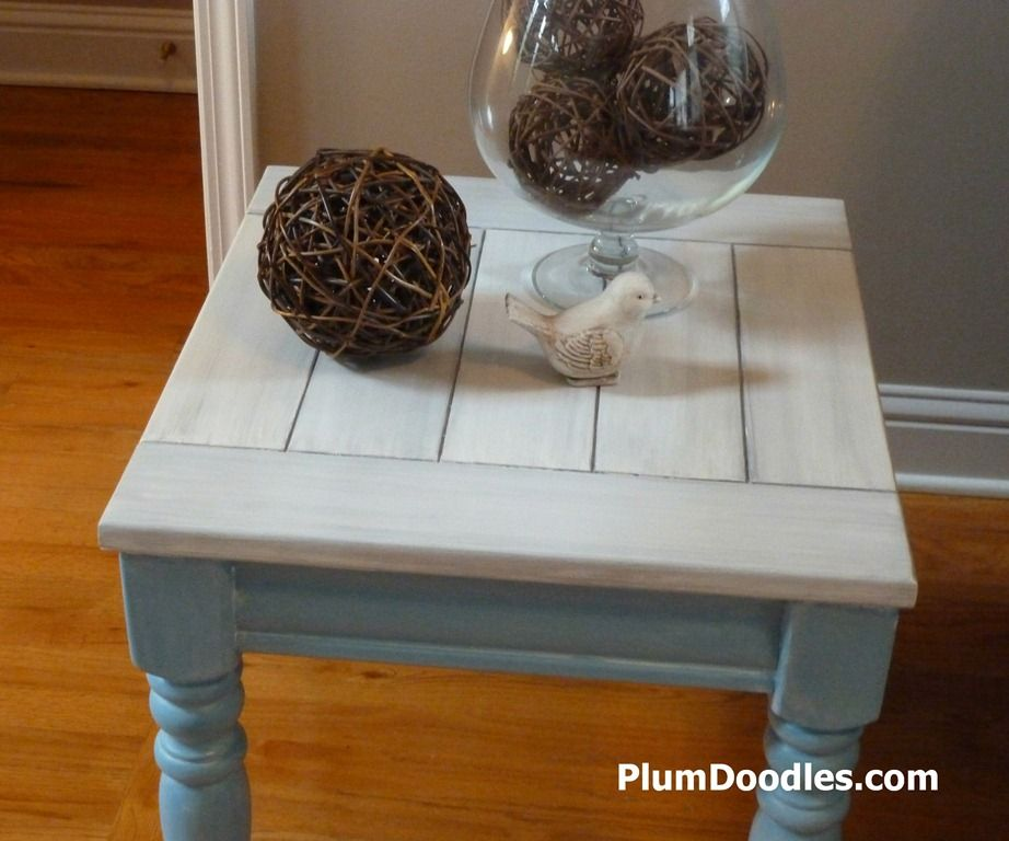 Beachy End Table with Turquoise Base and Driftwood Top Paint