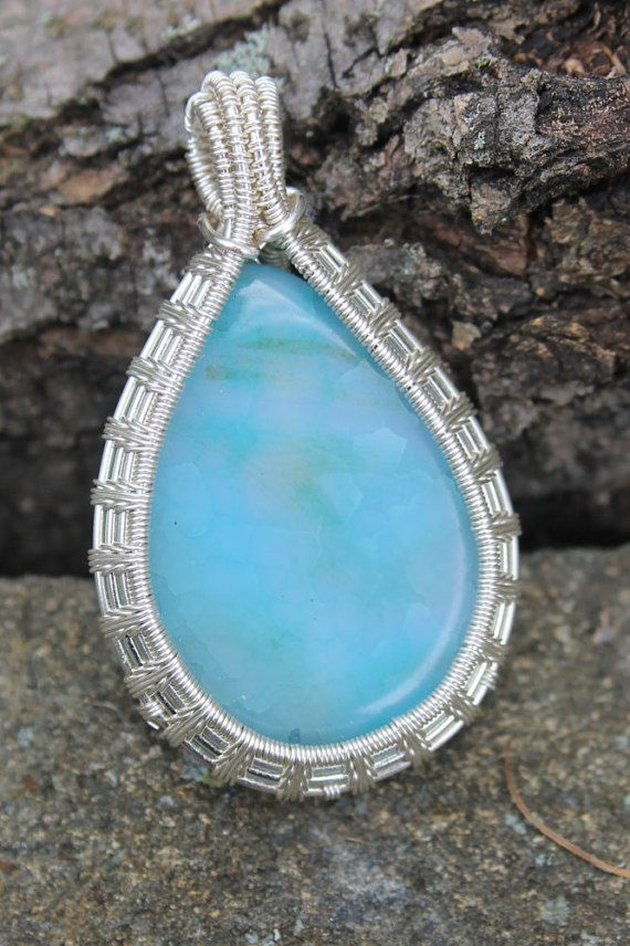 Blue Crackle Agate Wire Wrap | Colorful Wire Weave Necklace | Large ...