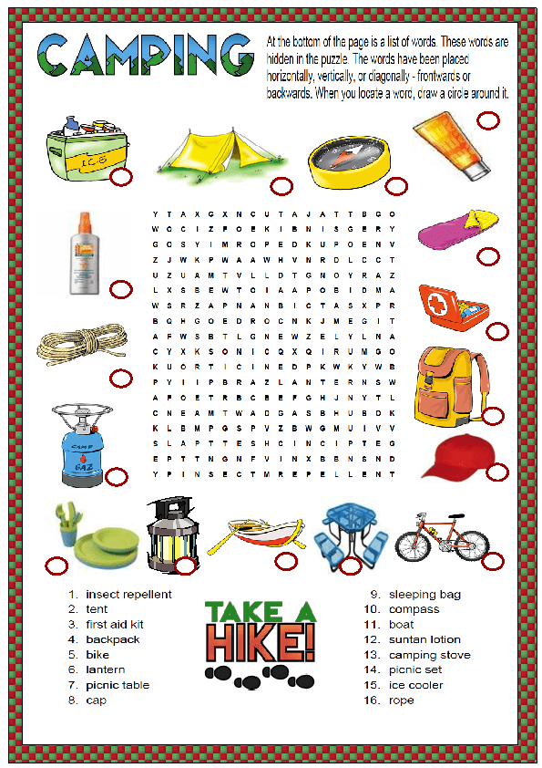 8 Free Kids Printables To Take Camping | School | Camping