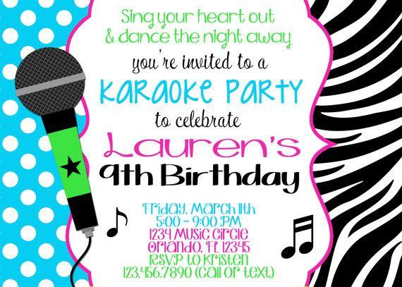 Karaoke Girl 5x7 Birthday Invitation Printable Birthday Invitation Templates Birthday Invitations Printable Birthday Invitations