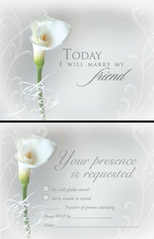 lily wedding invites Blank Wedding Invitations White Calla Lily