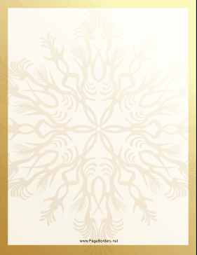 This Gold Snowflake Border Features A Large Gold Snowflake Within A Golden Border Free To Download And Print Gold Snowflake Snowflakes Gold