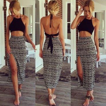 4b565d76cf7b4 Sleeveless Backless Side Split Black Two-piece Ankle Length Skirt Set   PinoftheDay  iamalovelywoman
