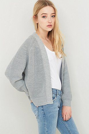 Light Before Dark Knitted Bomber Cardigan - Urban Outfitters