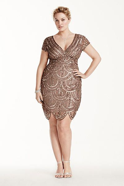 Short Mesh Dress with All Over Sequins Plus Size Dress. Gorgeous second dress for a Gatsby inspired wedding or dress for a wedding guest.