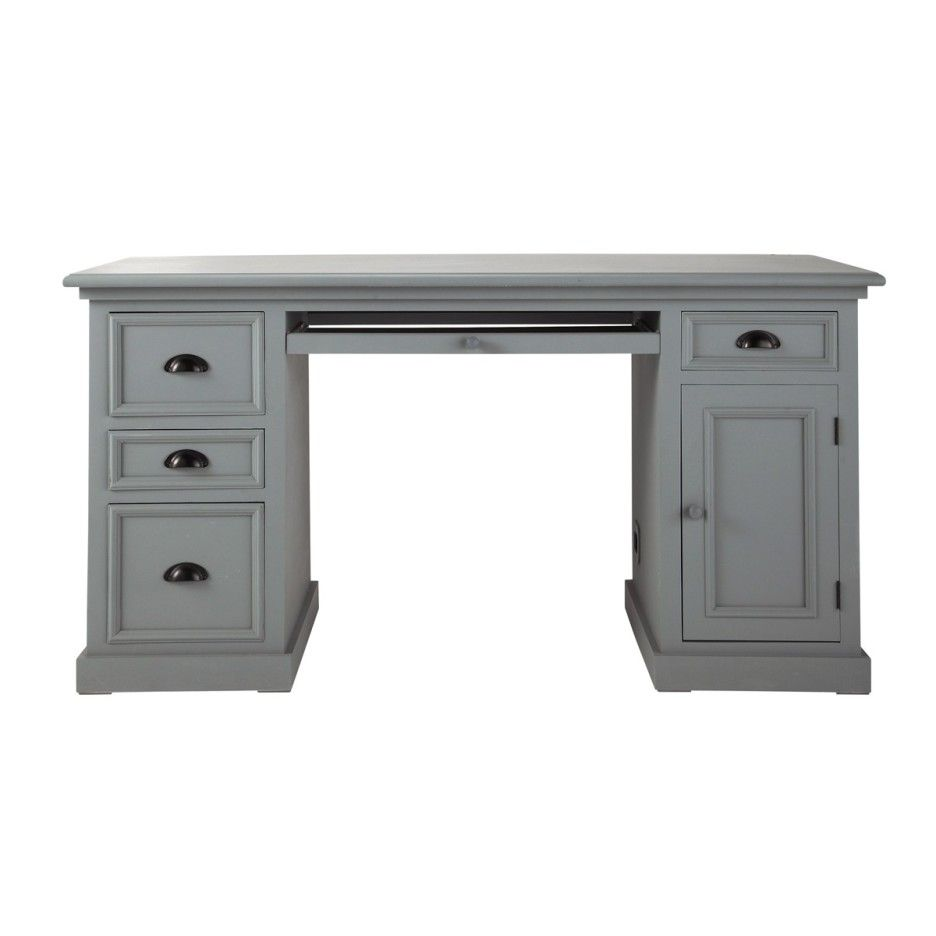 Furniture. Classic Light Gray Painted Wooden Executive