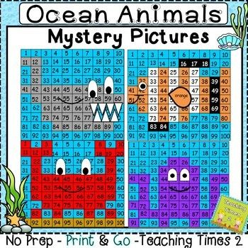 Hundreds Chart Mystery Picture 41: Ocean Animals Hundreds Chart Hidden Picture | Hidden pictures ,Chart