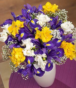 Iris And Freesias Flowers By Post With Free Uk Delivery Bunches The Online Florist My Favourite We Yellow Flower Arrangements Iris Bouquet Flowers By Post