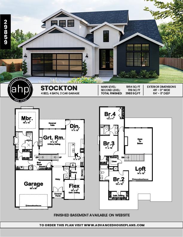 1 5 Story Modern Farmhouse Style Plan Stockton Family House Plans House Plans Farmhouse Sims House Plans