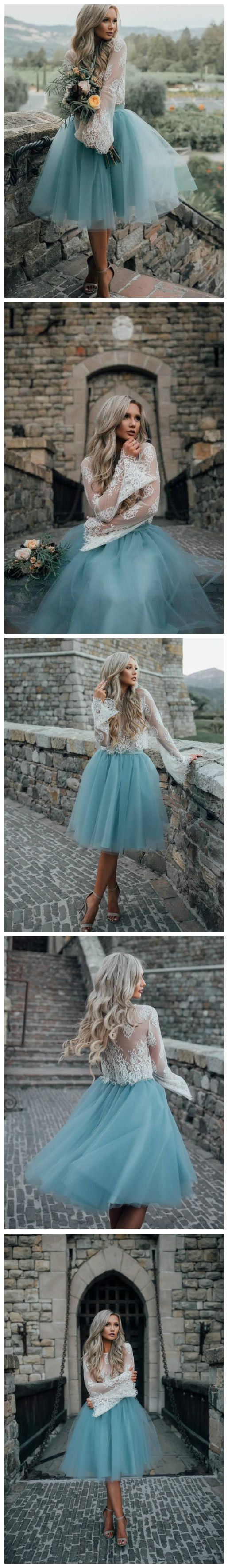 Aline scoop long sleeve homecoming dress tulle green short prom