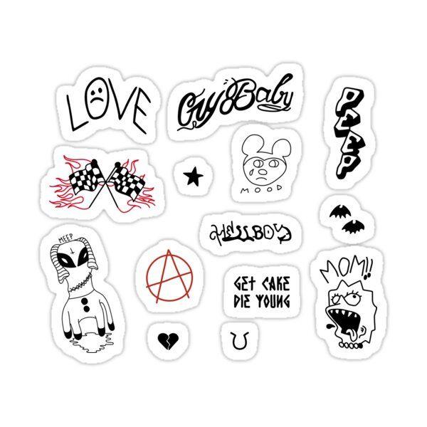 Lil Peep Lisa Drooling Tattoo Sticker By Deadbytwenty7 White Background 3 X3 Lil Peep Tattoos Small Tattoos For Guys Peeps Crafts