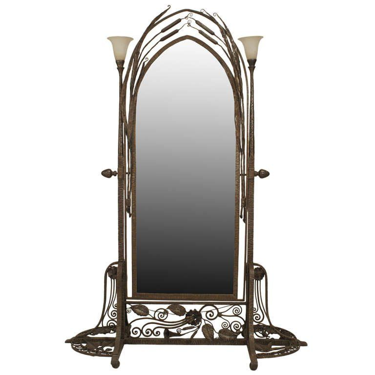 French Art Deco Wrought Iron Cheval Mirror Attributed to Paul Kiss, circa 1920's For Sale at 1stdibs