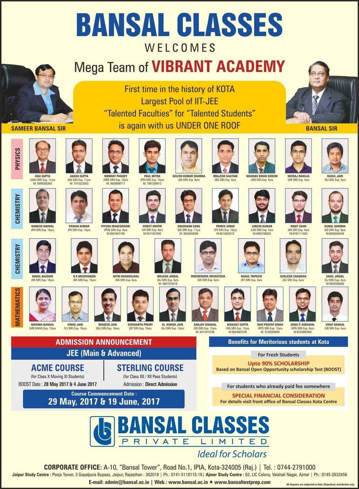 Bansal Classes Kota Faculties Kota Class Faculties