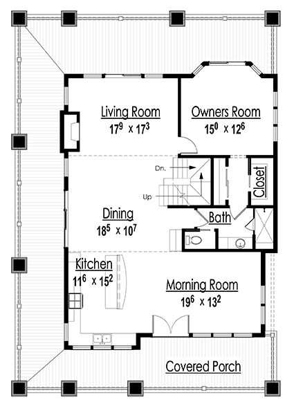 Main Level Floor Plan Image Of The Hillside Vacation Cottage House Plan Cottage Floor Plans House Plans How To Plan