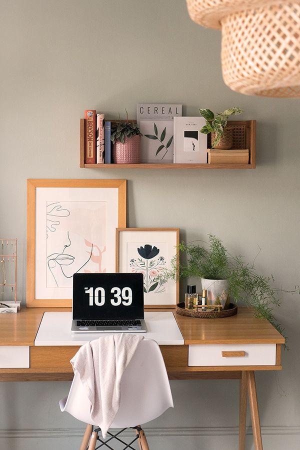 Home Office Space In Boho Bedroom