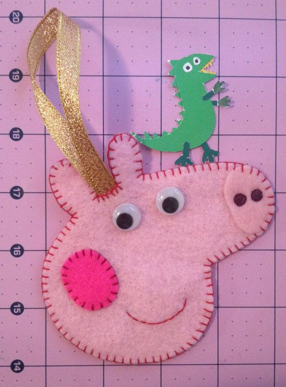 peppa pig inspired christmas tree ornament handmade peppa pig felt ornaments pinterest christmas ornaments and christmas tree ornaments
