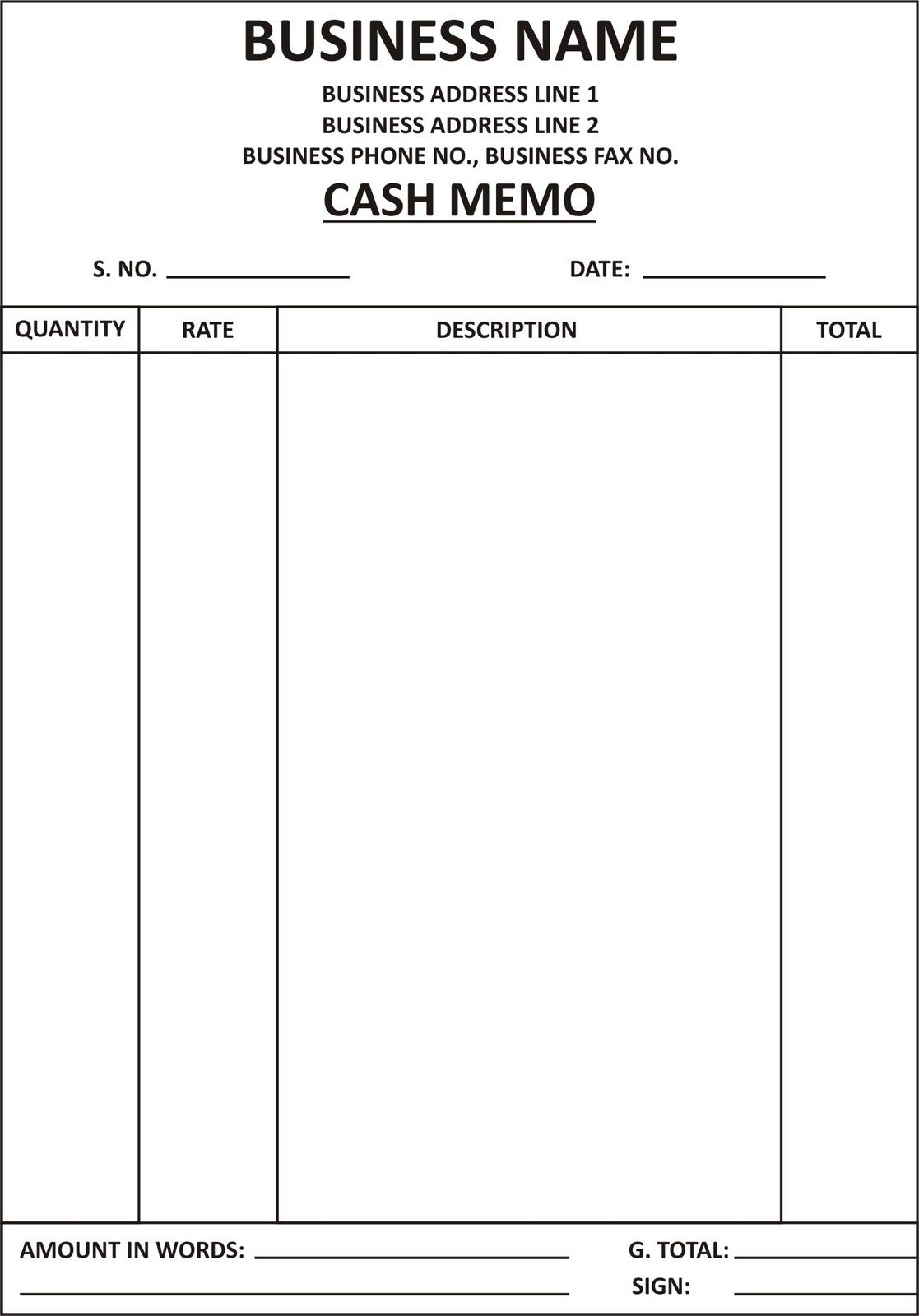 Cash Bill Format Submited Images Pic 2 Fly