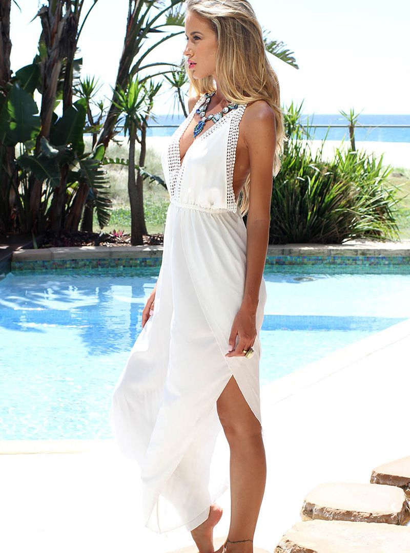 White V Neck Polyester Sleeveless Vacation Casual Dress - Lalalilo.com Shopping - The Best Deals on Casual Dresses