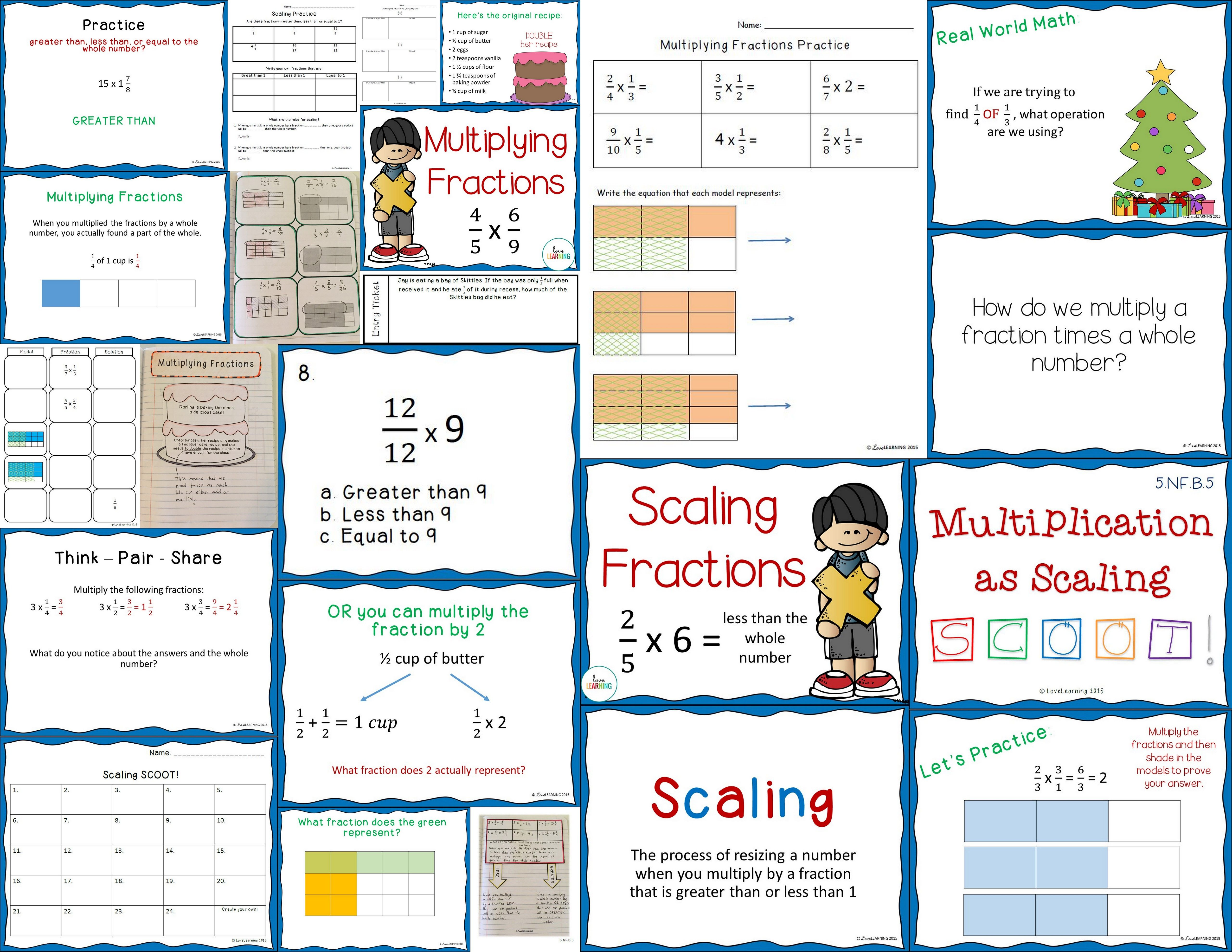 Complete Multiplying Fractions Unit Covers 5th Grade