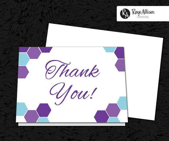 Hexagon Suite - Printable Thank You Note - personalized wedding