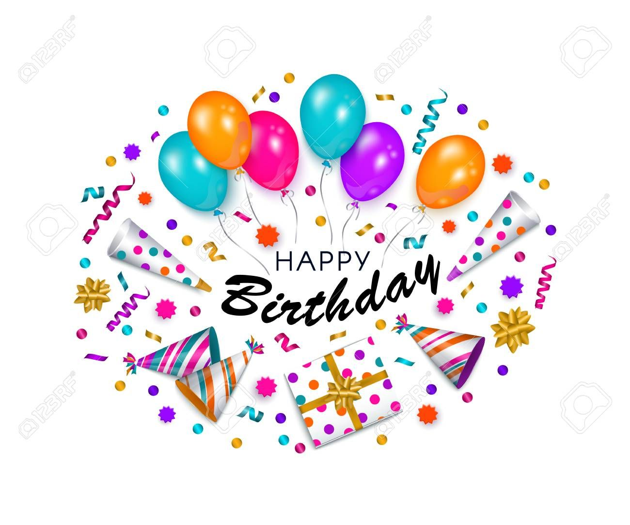 Happy Birthday Greeting Card Banner Poster Design With Realistic