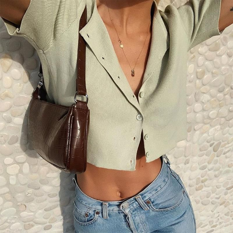 Photo of Basic Ribbed Short-Sleeve Crop Cardigan
