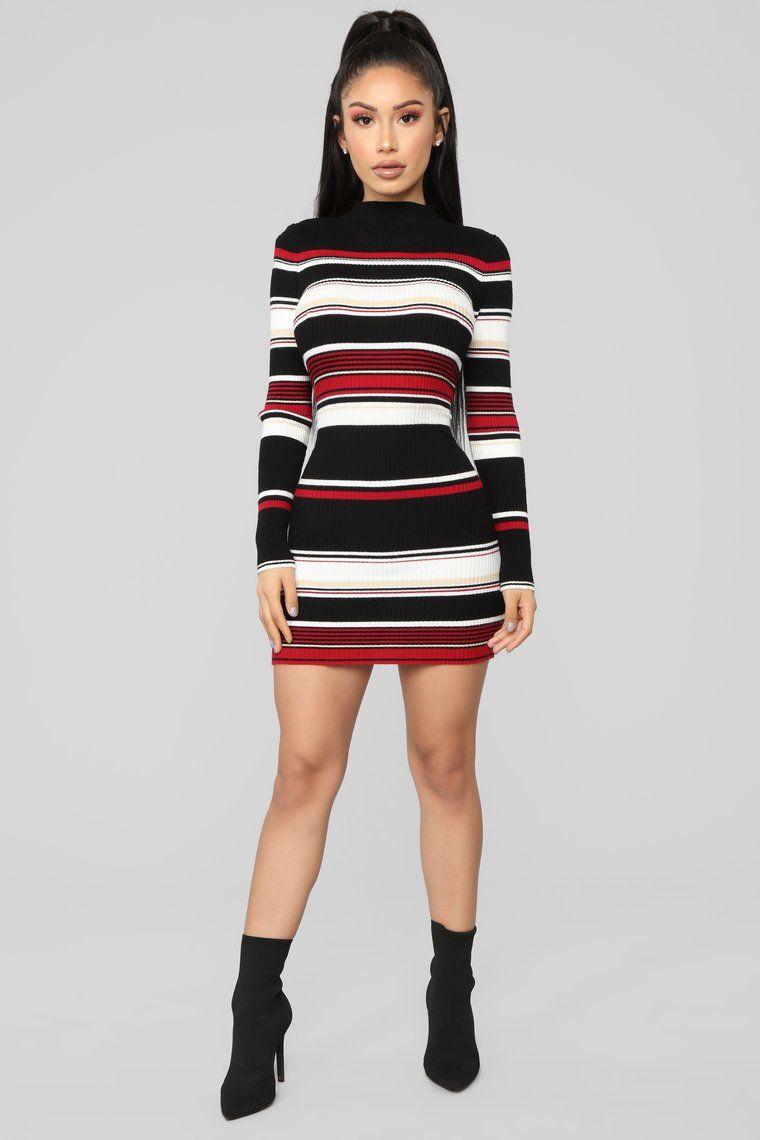97d5db329e Amanda Stripe Sweater Dress - Black Red in 2019