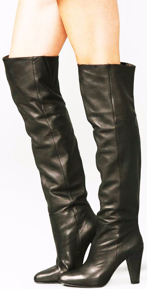 JOIE TWIGGY OVER THE KNEE BOOTS BLACK LEATHER PULL ON SHOES 8 OTK HEELS $575 #JOIE #OverKneeBoots #Casual