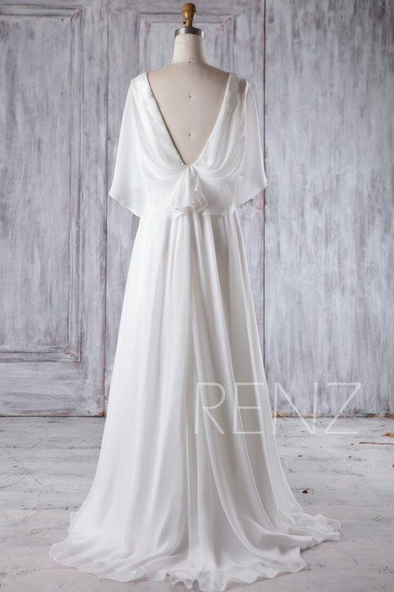 8229b299cea Beach Wedding Dress White Chiffon Evening Dress Long Sleeve Gown ...