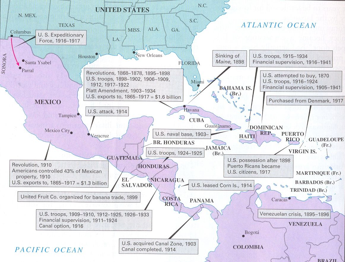 Us Intervention In Latin America Map http://.binghamtonschools.org/Downloads/US_Imperialism_Map13