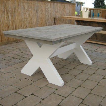 Steigerhout tafel met wit de witte poten en greywash blad for Tafel van steigerplanken